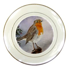 Robin On Log Porcelain Display Plate by ArtByThree