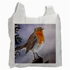 Robin On Log White Reusable Bag (two Sides) by ArtByThree