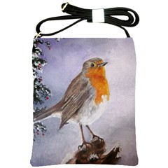 Robin On Log Shoulder Sling Bag by ArtByThree