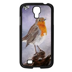 Robin On Log Samsung Galaxy S4 I9500/ I9505 Case (black) by ArtByThree