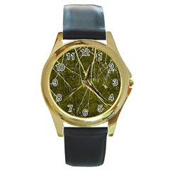 Wild Nature Collage Print Round Leather Watch (gold Rim)  by dflcprints
