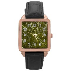 Wild Nature Collage Print Rose Gold Leather Watch  by dflcprints