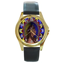 New Romantic Round Leather Watch (gold Rim)  by icarusismartdesigns