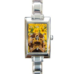 Sunflowers Rectangular Italian Charm Watch by icarusismartdesigns