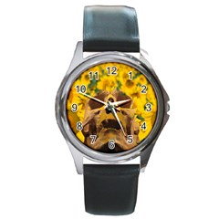 Sunflowers Round Leather Watch (silver Rim) by icarusismartdesigns
