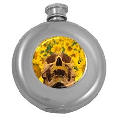 Sunflowers Hip Flask (round) by icarusismartdesigns