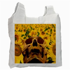Sunflowers White Reusable Bag (one Side) by icarusismartdesigns