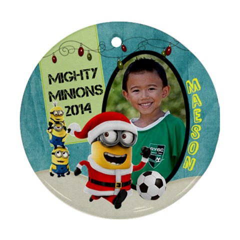 Minion Ornaments Maeson By Alyssa   Ornament (round)   To8rqwpv5ydz   Www Artscow Com Front
