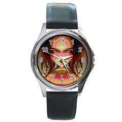 Cat Woman Round Leather Watch (silver Rim) by icarusismartdesigns