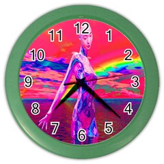 Cyborg Mask Wall Clock (color) by icarusismartdesigns