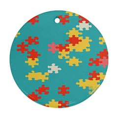 Puzzle Pieces Round Ornament by LalyLauraFLM