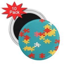 Puzzle Pieces 2 25  Button Magnet (10 Pack)
