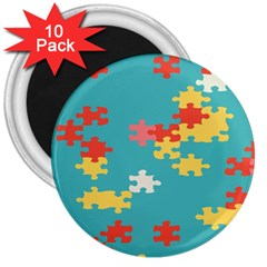 Puzzle Pieces 3  Button Magnet (10 Pack) by LalyLauraFLM