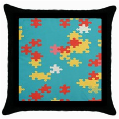 Puzzle Pieces Black Throw Pillow Case by LalyLauraFLM