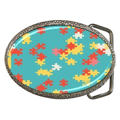 Puzzle Pieces Belt Buckle (oval) by LalyLauraFLM