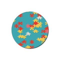 Puzzle Pieces Drink Coasters 4 Pack (round) by LalyLauraFLM