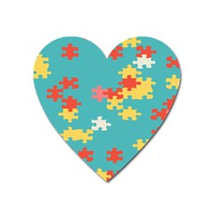 Puzzle Pieces Magnet (heart) by LalyLauraFLM