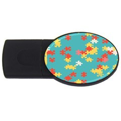 Puzzle Pieces 4gb Usb Flash Drive (oval) by LalyLauraFLM