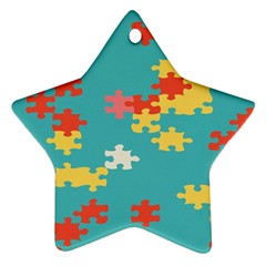 Puzzle Pieces Star Ornament (two Sides) by LalyLauraFLM