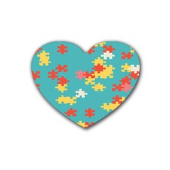 Puzzle Pieces Drink Coasters (heart) by LalyLauraFLM