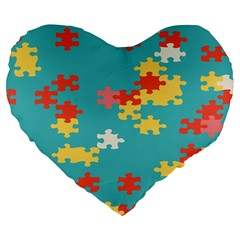 Puzzle Pieces 19  Premium Heart Shape Cushion