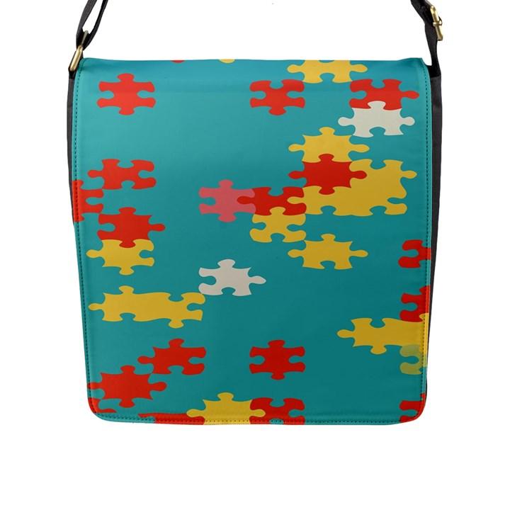Puzzle Pieces Flap Closure Messenger Bag (Large)