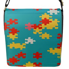 Puzzle Pieces Flap Closure Messenger Bag (small) by LalyLauraFLM
