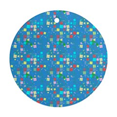 Colorful Squares Pattern Ornament (round) by LalyLauraFLM