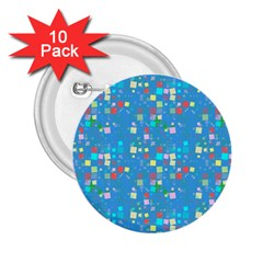 Colorful Squares Pattern 2 25  Button (10 Pack)
