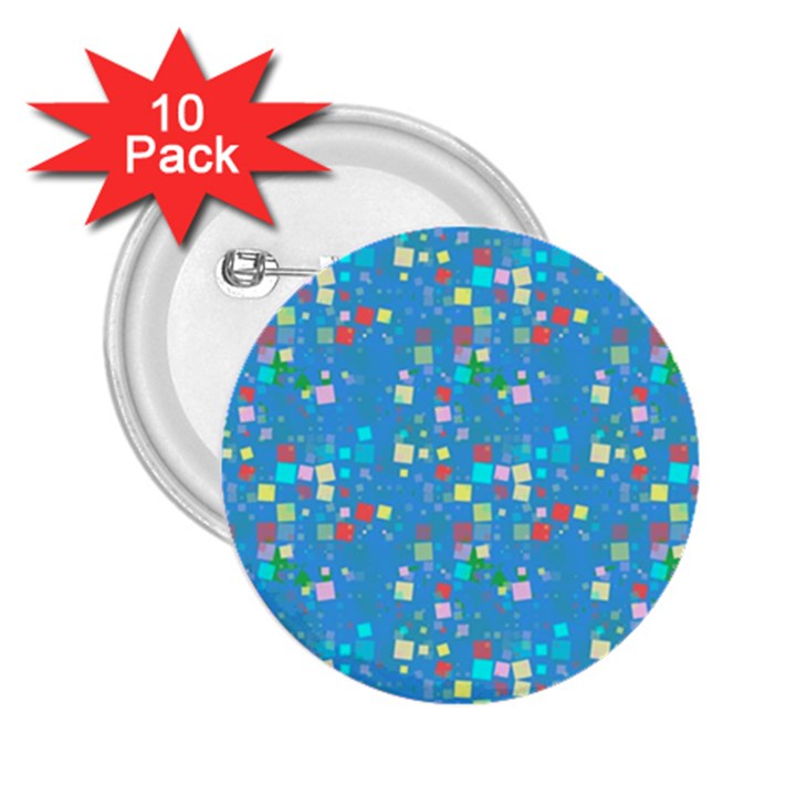 Colorful squares pattern 2.25  Button (10 pack)