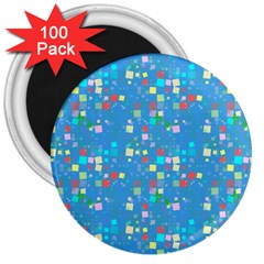 Colorful Squares Pattern 3  Magnet (100 Pack) by LalyLauraFLM