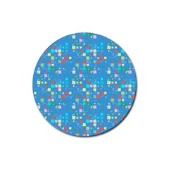 Colorful Squares Pattern Rubber Coaster (round) by LalyLauraFLM