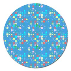 Colorful Squares Pattern Magnet 5  (round)