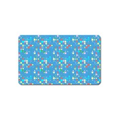 Colorful Squares Pattern Magnet (name Card) by LalyLauraFLM