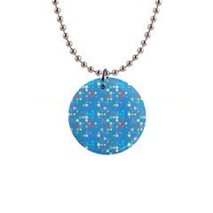 Colorful Squares Pattern 1  Button Necklace by LalyLauraFLM