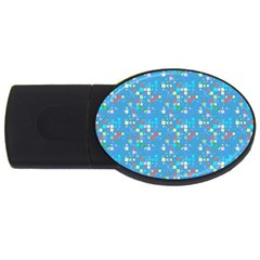 Colorful Squares Pattern Usb Flash Drive Oval (4 Gb) by LalyLauraFLM