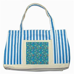 Colorful Squares Pattern Striped Blue Tote Bag by LalyLauraFLM