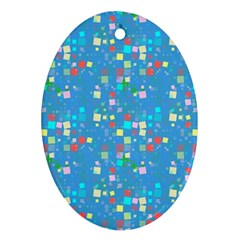 Colorful Squares Pattern Oval Ornament (two Sides) by LalyLauraFLM