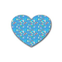 Colorful Squares Pattern Rubber Coaster (heart) by LalyLauraFLM