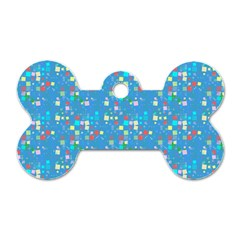 Colorful squares pattern Dog Tag Bone (One Side) by LalyLauraFLM