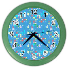 Colorful Squares Pattern Color Wall Clock