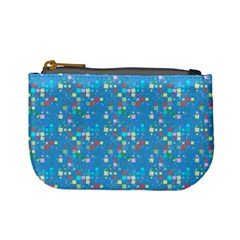 Colorful Squares Pattern Mini Coin Purse by LalyLauraFLM