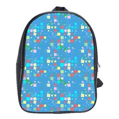 Colorful Squares Pattern School Bag (large) by LalyLauraFLM