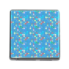 Colorful Squares Pattern Memory Card Reader With Storage (square) by LalyLauraFLM