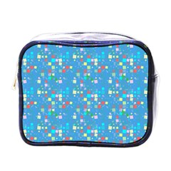 Colorful Squares Pattern Mini Toiletries Bag (one Side)