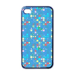 Colorful Squares Pattern Apple Iphone 4 Case (black) by LalyLauraFLM