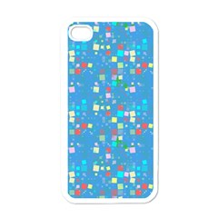 Colorful Squares Pattern Apple Iphone 4 Case (white) by LalyLauraFLM