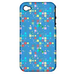 Colorful Squares Pattern Apple Iphone 4/4s Hardshell Case (pc+silicone)
