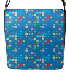 Colorful Squares Pattern Flap Closure Messenger Bag (small)