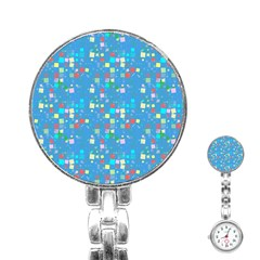 Colorful Squares Pattern Stainless Steel Nurses Watch by LalyLauraFLM